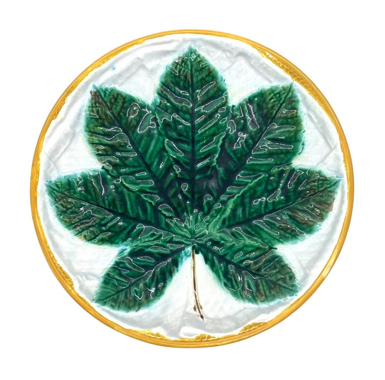 Molded George Jones Majolica Comport, Horse Chestnut Leaf on Napkin, English For Sale