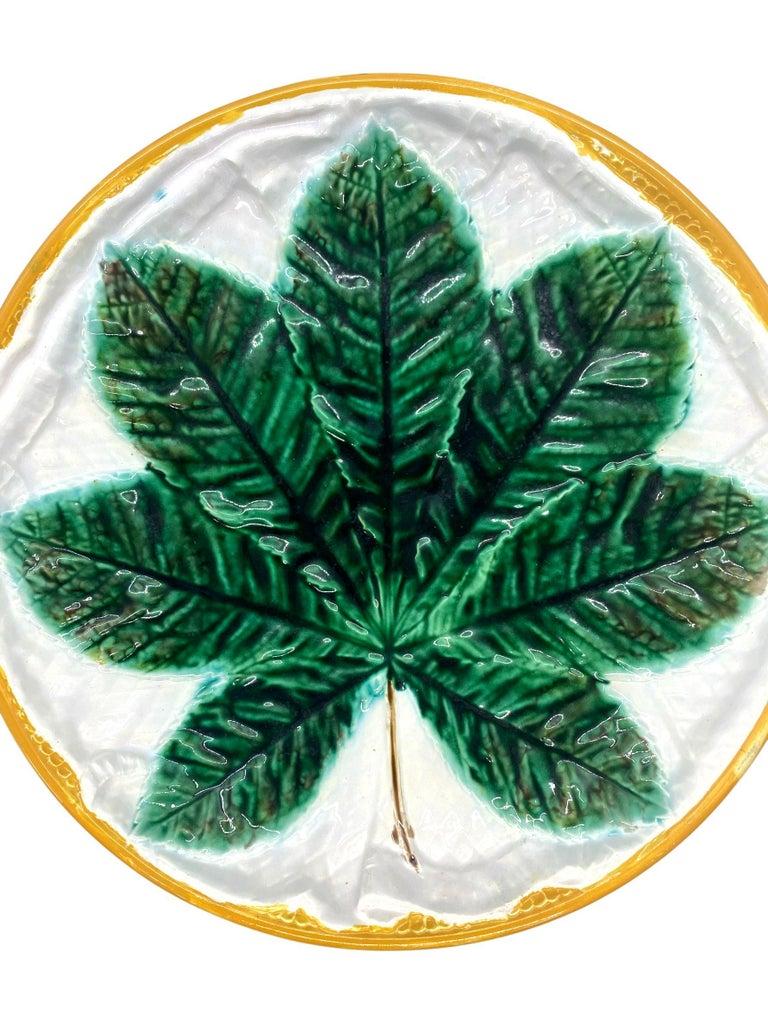 George Jones Majolica Comport, Horse Chestnut Leaf on Napkin, English In Good Condition For Sale In Banner Elk, NC