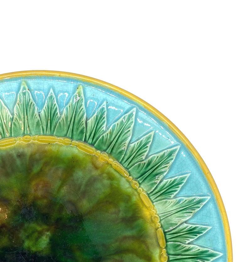 Molded George Jones Majolica Compote, Mottled Center, Green Leaves on Turquoise, 1870 For Sale