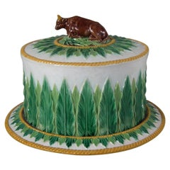 George Jones Majolica Cow Cheese Dome and Stand