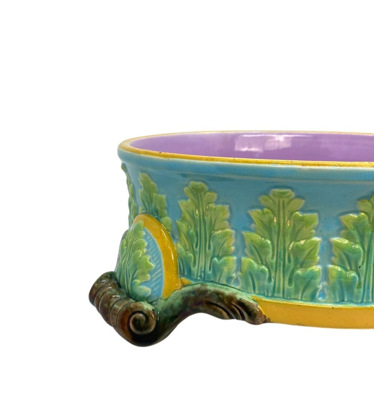English George Jones Majolica Dog Bowl, Glazed in Turquoise, Pink Interior, Dated 1884 For Sale