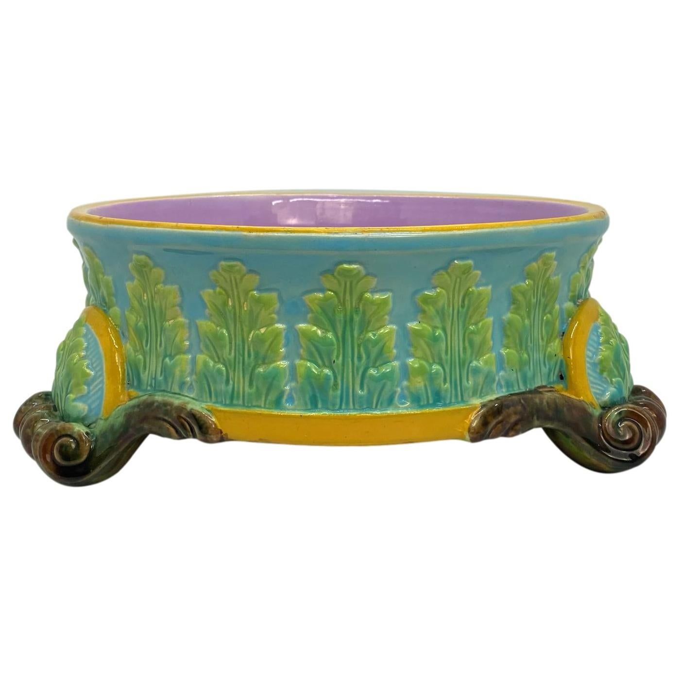 George Jones Majolica Dog Bowl, Glazed in Turquoise, Pink Interior, Dated 1884