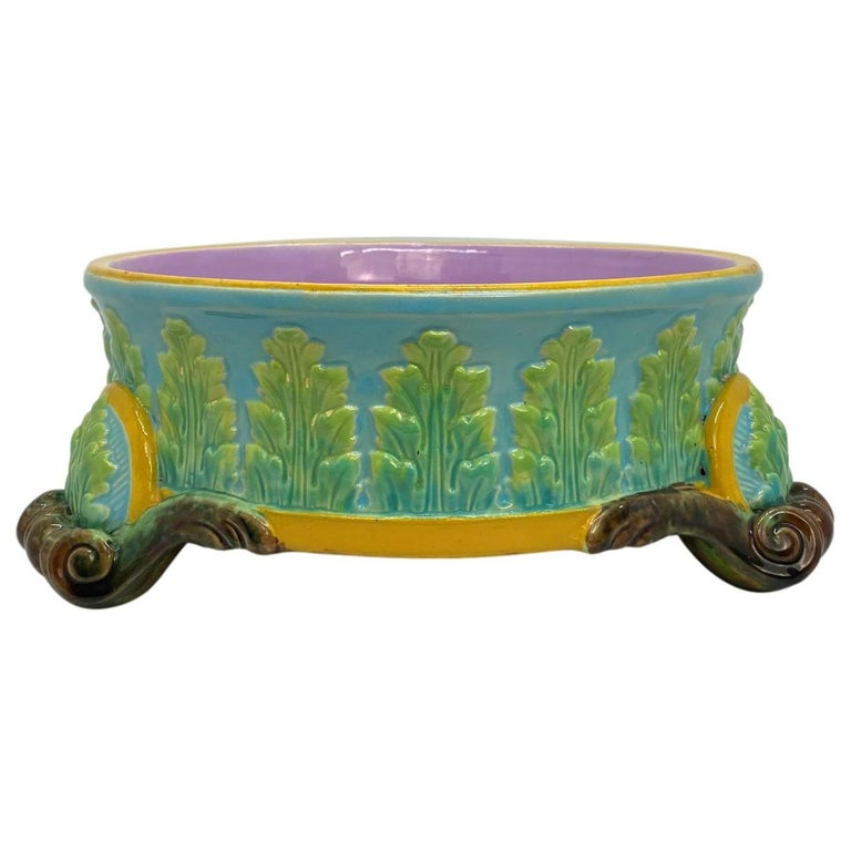 George Jones Majolica Dog Bowl, Glazed in Turquoise, Pink Interior, Dated 1884 For Sale