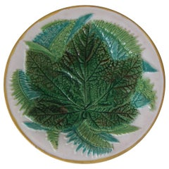 George Jones Majolica Fern and Leaf Plate