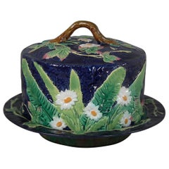George Jones Majolica Floral Cheese Dome and Stand