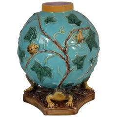 George Jones Majolica Frog and Insect Vase