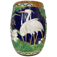 George Jones Majolica Garden Seat, Herons on Cobalt Blue Ground, English