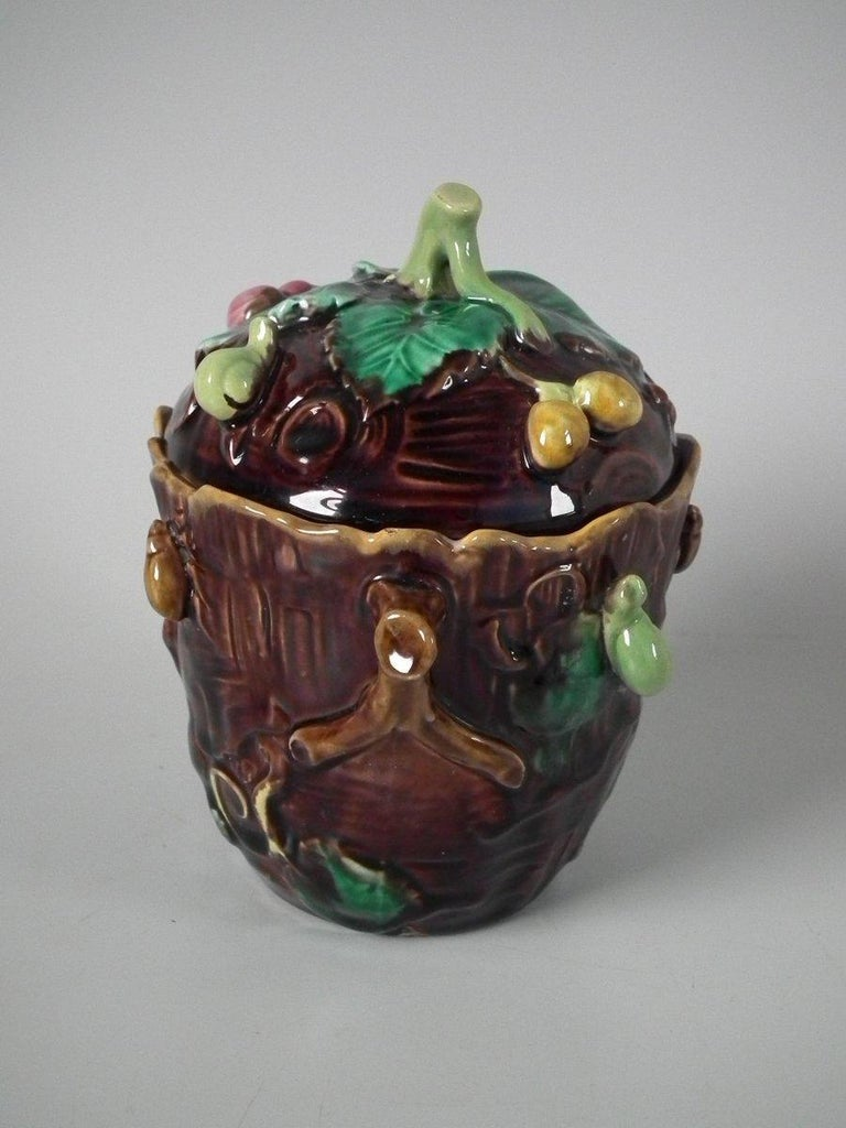 George Jones Majolica Insect Pot and Cover For Sale 8