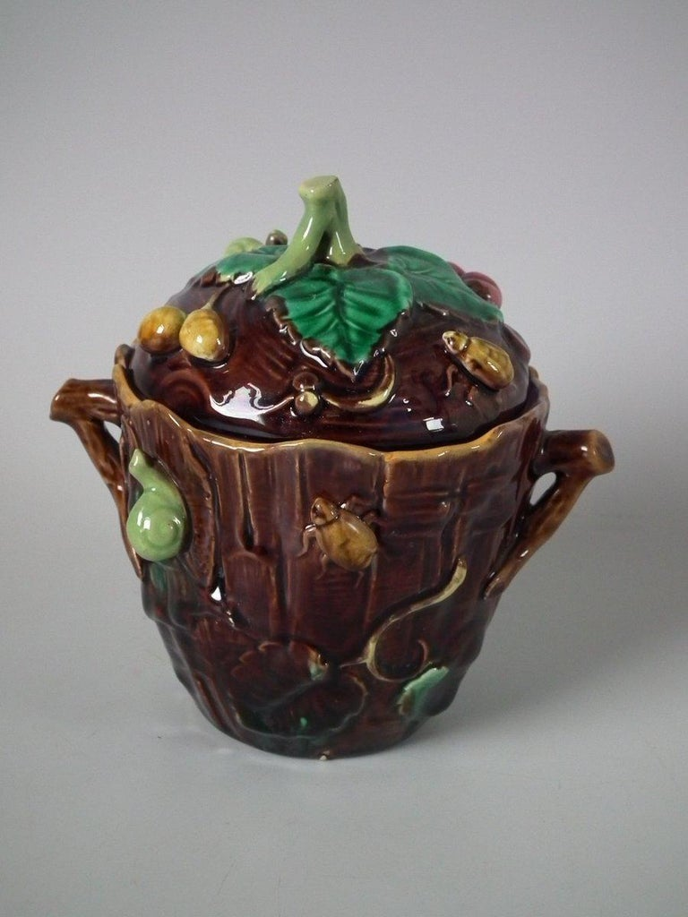 George Jones Majolica Insect Pot and Cover For Sale 9