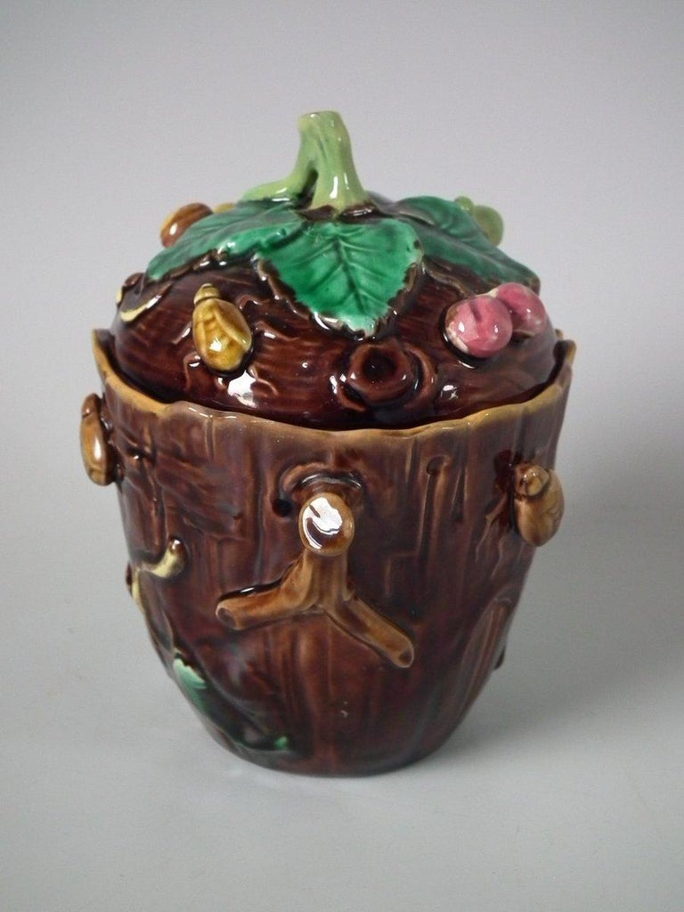 George Jones Majolica Insect Pot and Cover For Sale 10