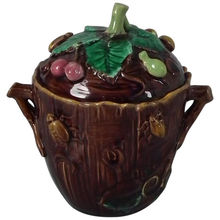 George Jones Majolica Insect Pot and Cover For Sale