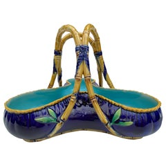 George Jones Majolica Large 'Rose Basket' in Cobalt Blue, circa 1872