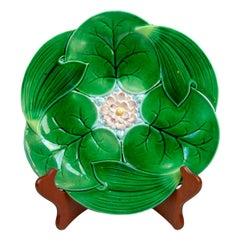 George Jones Majolica Lotus Pond Lily Plate English, circa 1870