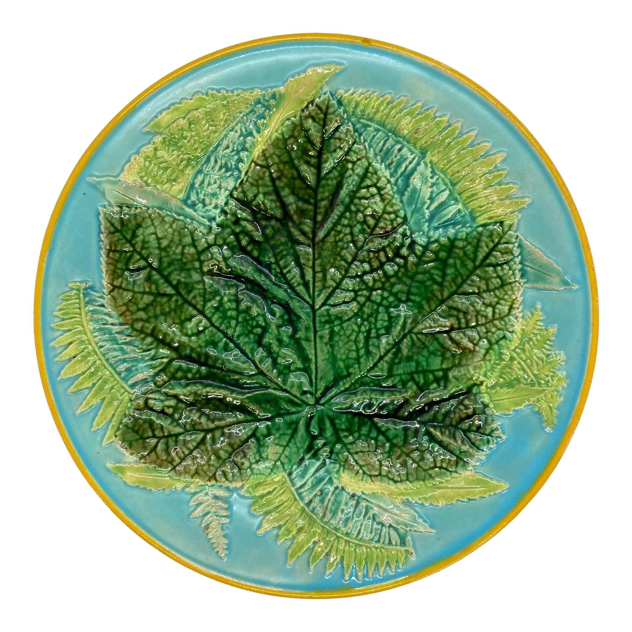 George Jones Majolica Maple Leaf and Ferns Plate on Turquoise, English, ca. 1873