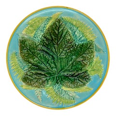 George Jones Majolica Maple Leaf and Ferns Plate on Turquoise, English, ca. 1873