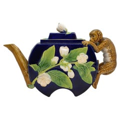 George Jones Majolica Monkey Teapot in Cobalt Blue, English, ca. 1875