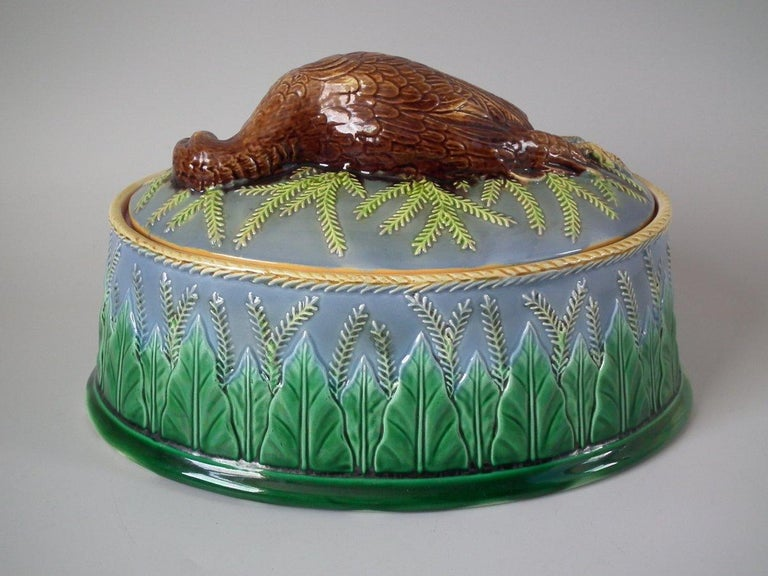 George Jones Majolica Partridge Game Pie Dish and Cover For Sale 6