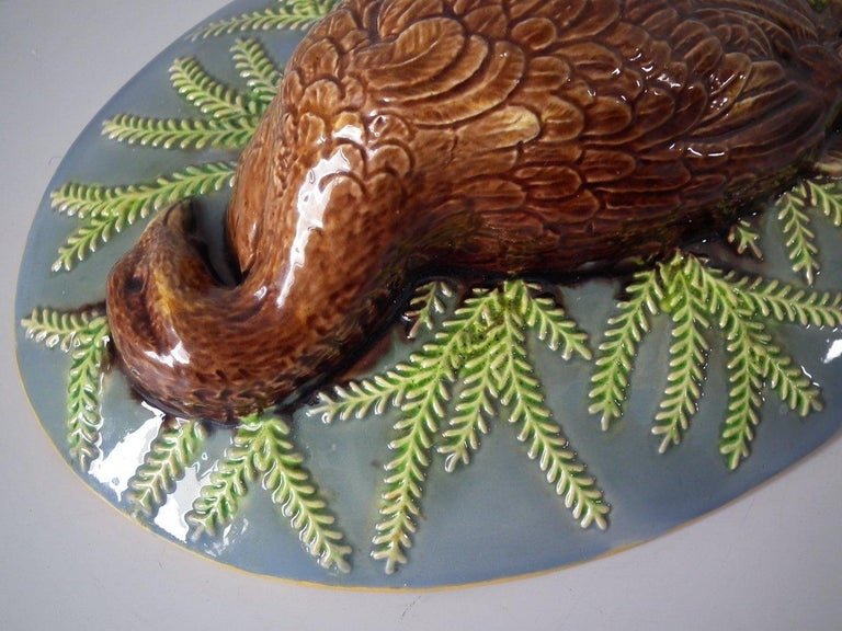 George Jones Majolica Partridge Game Pie Dish and Cover For Sale 10