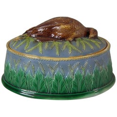 George Jones Majolica Partridge Game Pie Dish and Cover