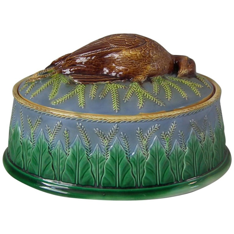 George Jones Majolica Partridge Game Pie Dish and Cover For Sale