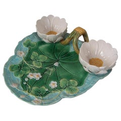 George Jones Majolica Pond Lily Strawberry Server