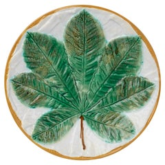 George Jones Majolica Pottery Horse Chestnut Leaf Plate, circa 1870