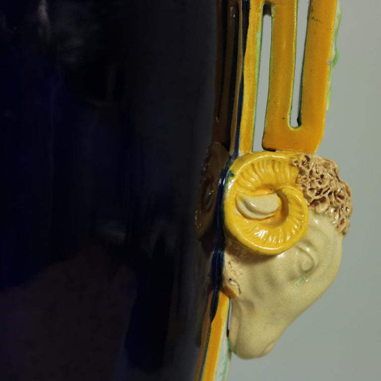 George Jones Majolica Rams Head Vase For Sale 3