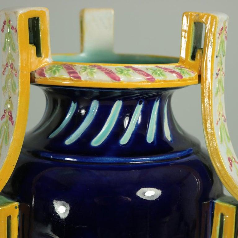 George Jones Majolica Rams Head Vase For Sale 4
