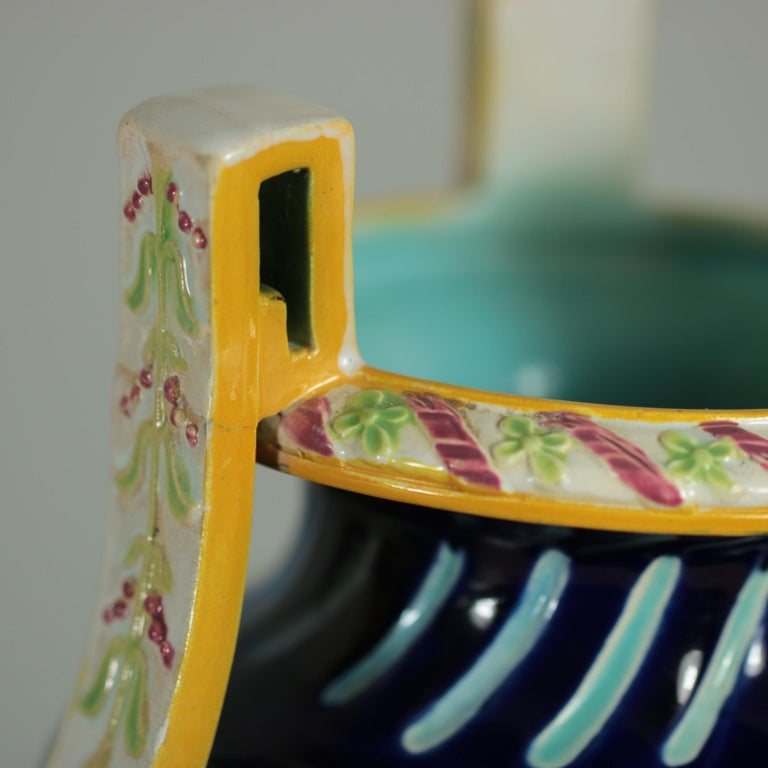 George Jones Majolica Rams Head Vase For Sale 5
