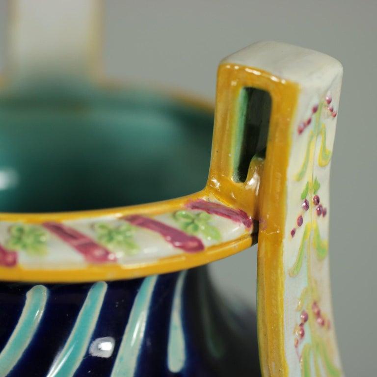 George Jones Majolica Rams Head Vase For Sale 6