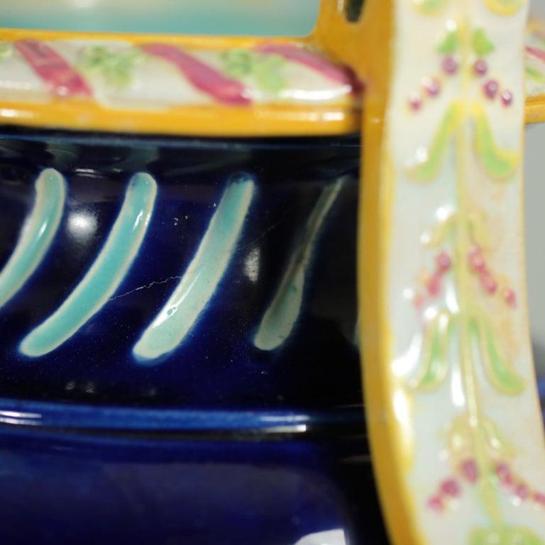 George Jones Majolica Rams Head Vase For Sale 7