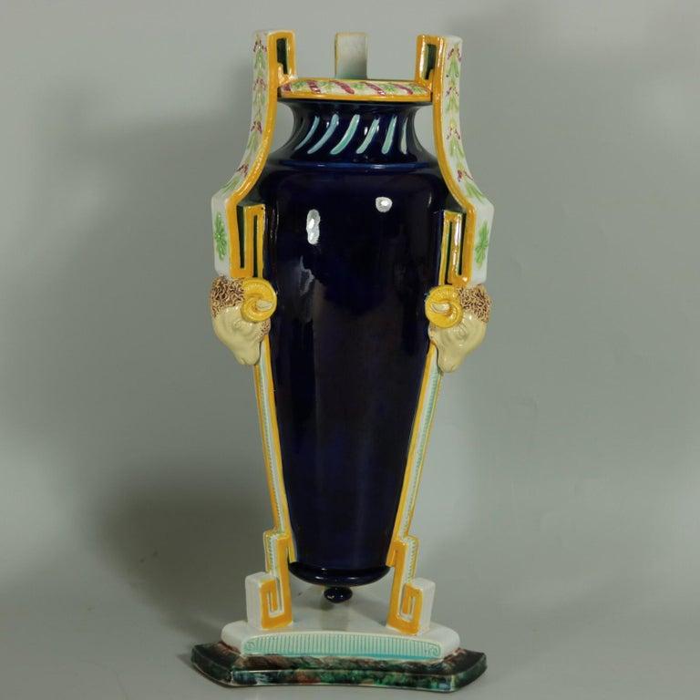 Victorian George Jones Majolica Rams Head Vase For Sale