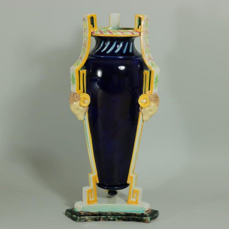 British George Jones Majolica Rams Head Vase For Sale