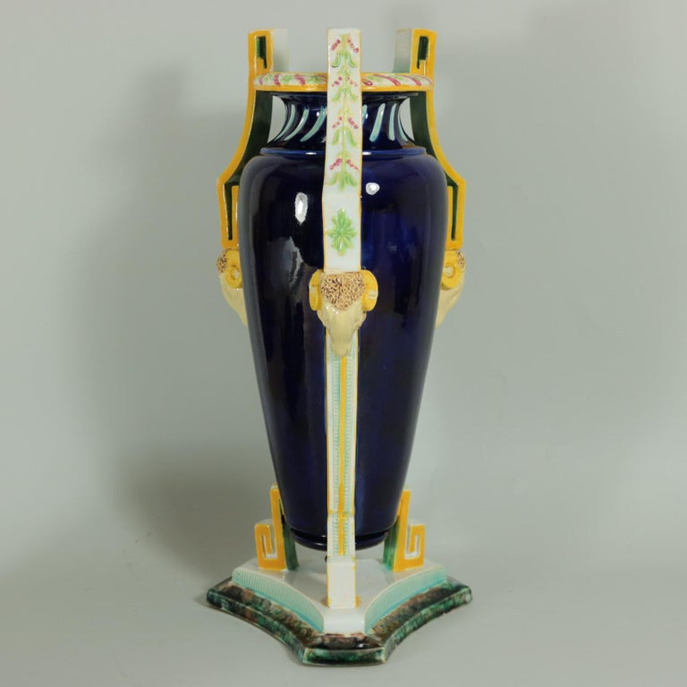 Glazed George Jones Majolica Rams Head Vase For Sale