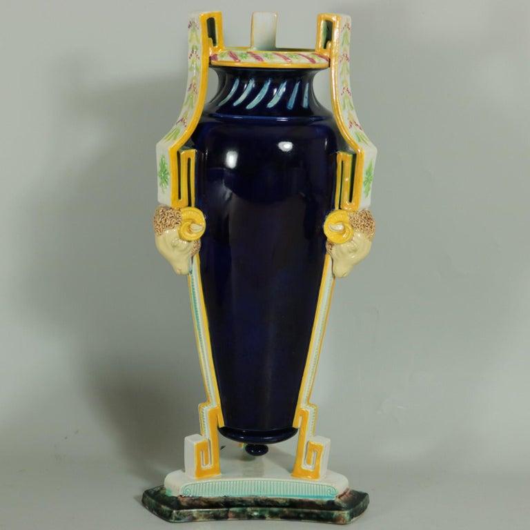 19th Century George Jones Majolica Rams Head Vase For Sale