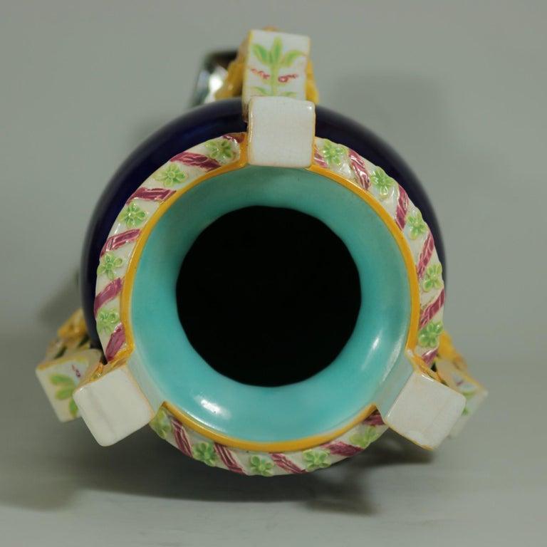 Earthenware George Jones Majolica Rams Head Vase For Sale