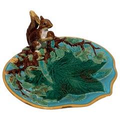 George Jones Majolica Squirrel Nut Dish, English, circa 1870 Excellent Condition