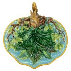 George Jones Majolica Squirrel Nut Dish, English, Dated 1869