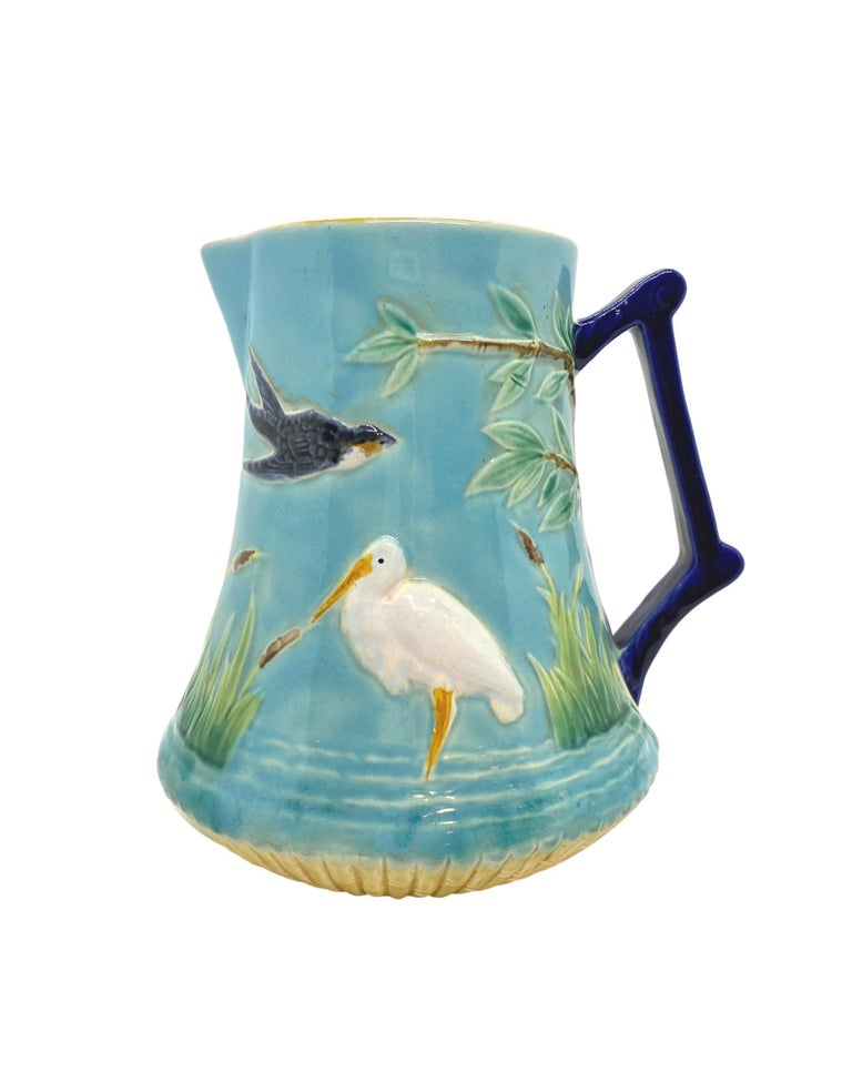 Victorian George Jones Majolica Stork in Marsh Pitcher Turquoise Ground, English, ca. 1878 For Sale