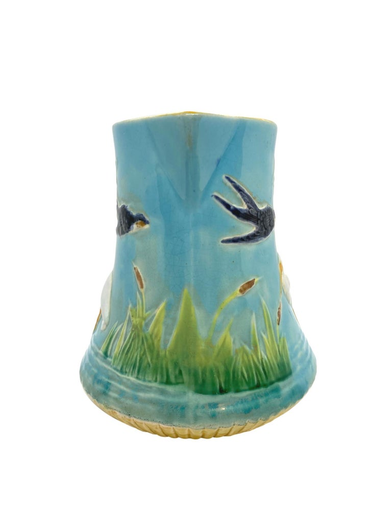 Molded George Jones Majolica Stork in Marsh Pitcher Turquoise Ground, English, ca. 1878 For Sale