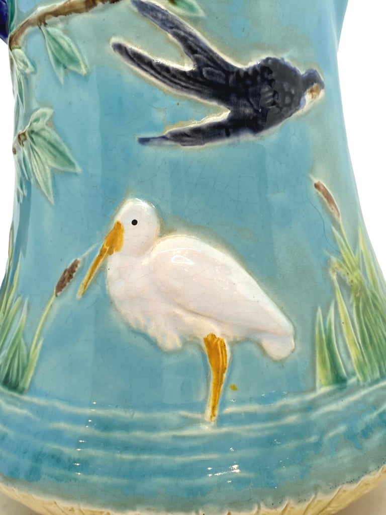 19th Century George Jones Majolica Stork in Marsh Pitcher Turquoise Ground, English, ca. 1878 For Sale