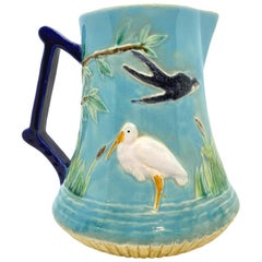 George Jones Majolica Stork in Marsh Pitcher Turquoise Ground, English, ca. 1878