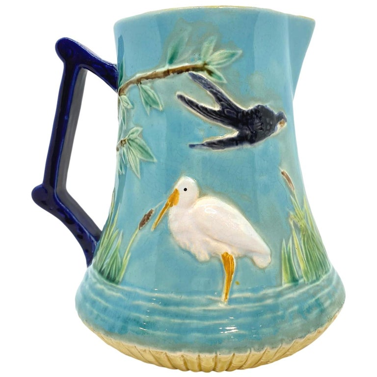 George Jones Majolica Stork in Marsh Pitcher Turquoise Ground, English, ca. 1878 For Sale