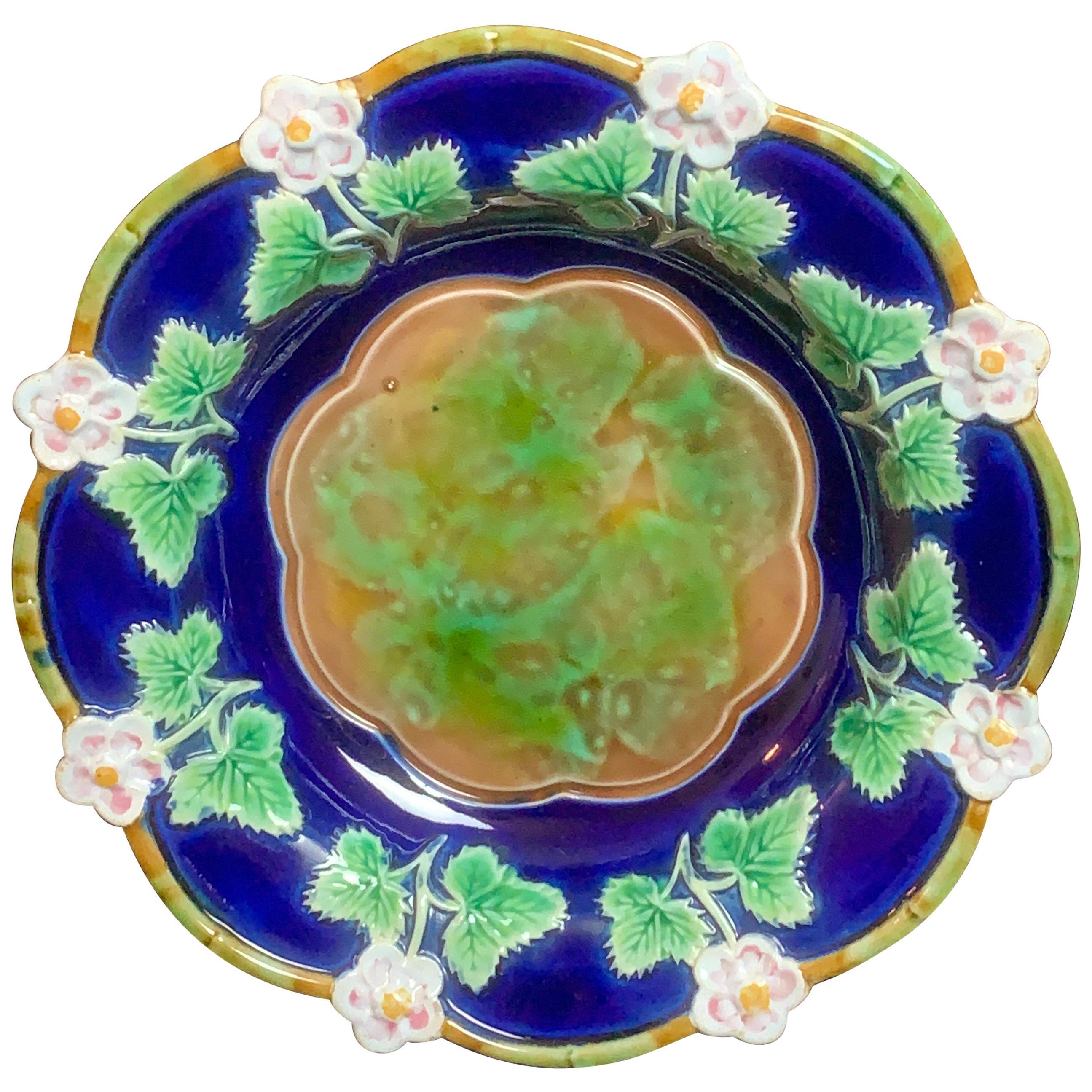 George Jones Majolica Strawberry Dish in Cobalt Blue, English, circa 1875