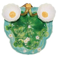 George Jones Majolica Strawberry Server Turquoise and Green, English, Dated 1877