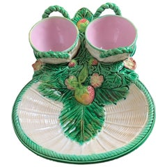 George Jones Majolica Strawberry Server with Rare Cream and Sugar Baskets, 1868