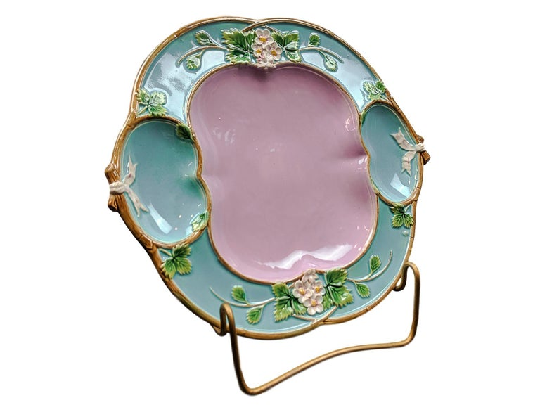 George Jones Majolica 'Strawberry Tray' with cream and sugar wells, English, British Registry mark to reverse for 29 April 1873, and black painted pattern number '3321P' which corresponds to 'Strawberry Tray, Pink Centre' in the George Jones