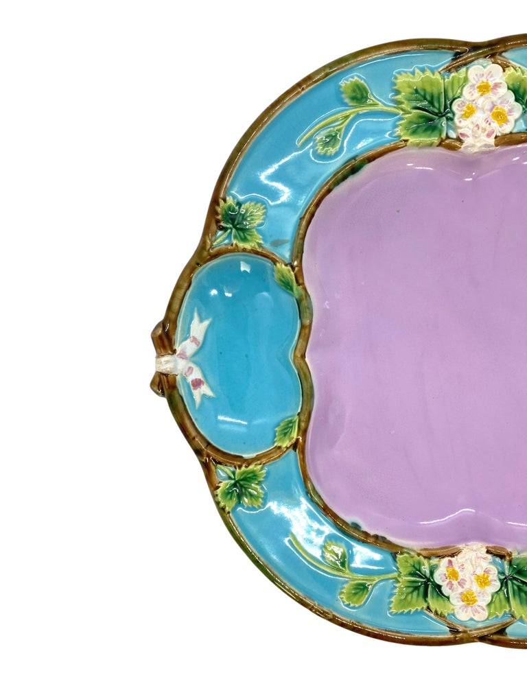 George Jones Majolica 'Strawberry Tray' with cream and sugar wells, English, British Registry mark to reverse for 29 April 1873, and black painted pattern number '3221P' which corresponds to 'Strawberry Tray, Pink Centre' in the George Jones