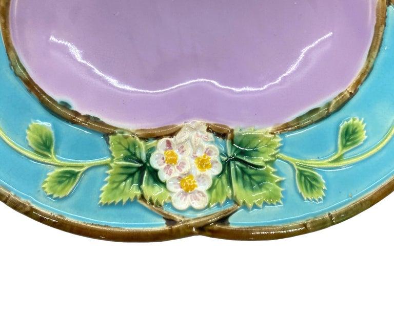 Molded George Jones Majolica 'Strawberry Tray' with Cream & Sugar Wells, English, 1873 For Sale