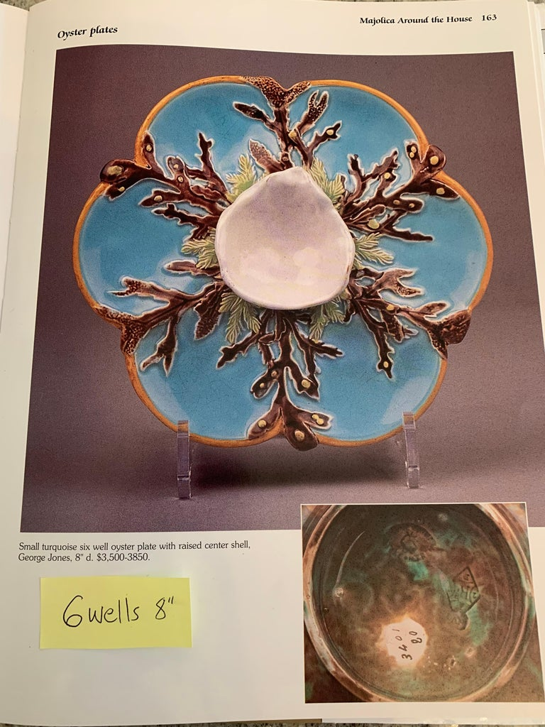 George Jones Majolica Turquoise Eight Well Oyster Plate, English, circa 1874 For Sale 6